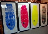 Very large pieces framed for exhibition at a gallery in Long Island.