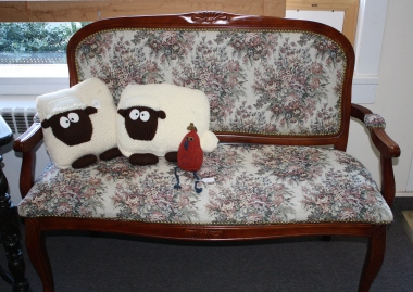 Sheep pillows and a chicken